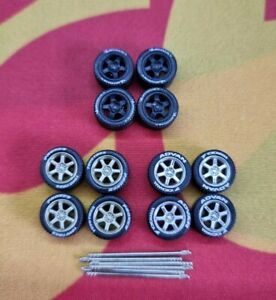 1/64 Rubber Wheels 3 Pack Real Riders Hot Wheels Matchbox Ford Mini Nissan a5