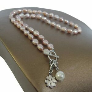 7-9 Mm100%nature Freshwater Long Baroque Pearl Necklace , Leaf,pineapple Pendant