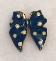 Vintage Gold Tone Blue Enamel Polka Dot Bow Brooch Pin Accessory Blue White