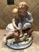 Vintage Narco Boy And Girl Feeding Squirrel Figurine