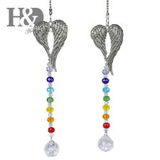 2PCS Rainbow Crystal Chakra Suncatcher Hanging Angle Wing Pendant Window Decor