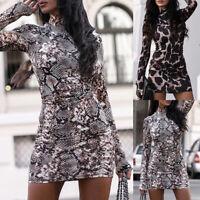 ❤️ Womens Leopard Print Long Sleeve Sexy Bodycon Mini Dress High Neck Party Tops