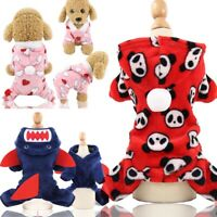 Xmas Soft Coral Fleece Coat Dog Clothes Winter Dog Jumpsuit Warm Hoodie Pajamas