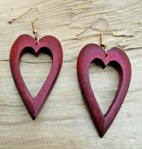 Love Heart Cutout Wooden Red/ Brown Hook Earrings 4.5cm x 2.5cm NEW