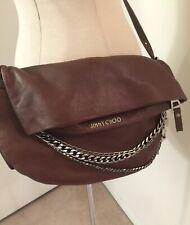 5b4d339e7b62 NWOT JIMMY CHOO Brown Leather Large Biker Flap Crossbody Bag