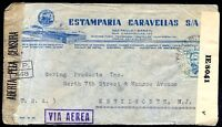 BRAZIL TO USA Air Mail Censored Cover w/Advertising, VF
