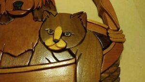 American woodwork folk art basket with puppy and kittens wall hanging