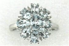 NEW 1.90 ct AQUAMARINE DIAMOND COCKTAIL RING REAL SOLID 10 KW GOLD 3.2 g SIZE 7