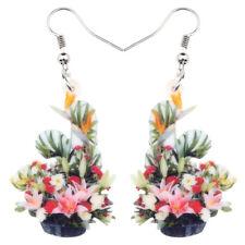 Acrylic Colorful Multi Flower Bonsai Earrings Drop Dangle Jewelry For Women Girl