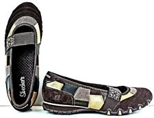 Skechers Womens Mary Jane Flats size 7.5 M Brown Quilted Suede Patchwork MO34