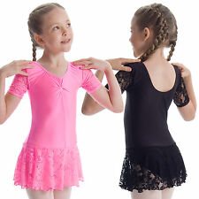 Girls Short Sleeve Floral Lace Ballet Dance Dress Leotard with skirt Nylon Lycra