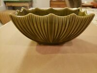 "Vtg Half-Moon Shaped Drip Glazed Green Vase Planter USA Pottery 8"" wide 4"" tall"