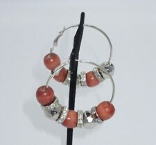Beaded Hoop Earring Wooden Rhinestone Crystal Silver Tone Statement Shiny CHIC