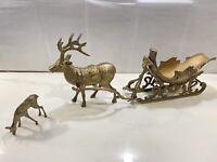 "Solid Brass Reindeer with Santa Sleigh - 26"" L 10.5"" H W/ Added Bonus Baby"