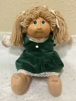 Cabbage Patch Doll Blonde Hair Pony Tails Green Eyes Coleco Xavier Roberts