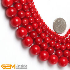 """Natural Coral Round Dyed Red Coral Stone Loose Beads For Jewellery Making 15"""""""
