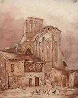 DOUE CHURCH FRANCE Small Watercolour Painting - 19TH CENTURY - GRAND TOUR