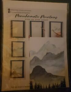 Let's Make Art Monochromatic Mountains- Watercolor Paper, Instructions, Example