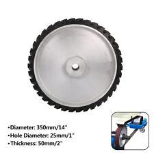 "14"" Rubber Serrated Sand Belt Grinder Polishing Contact Wheels Polisher 1"" Hole"