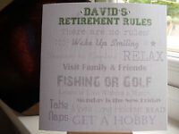 Modern Handmade Personalised Male Retirement Card 'Retirement Rules'