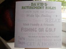 Modern Handmade Personalised Male Retirement Card 'Retirement Rules'