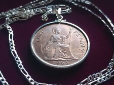 "1965 English UK Predecimal Penny Pendant on a 24"" .925 Italian Silver Link Chain"
