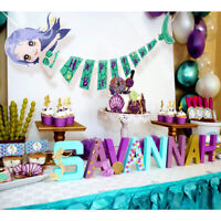 1Set Mermaid Banner Mermaid Happy Birthday Banner Baby Shower Party Supplies