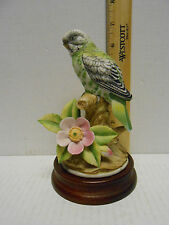 BROKEN TAIL Andrea  SADEK Vintage Bisque porcelain GREEN PARAKEET label