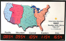 5 Zone - Digital LED Time Zone Clock with US Map - TZMAP