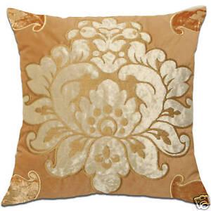 lotus flower tan velvet embroidered royal cushion covers