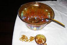 Punch Bowl Vintage Gold grape/leaf Carnival Glass Sawtooth w/Cups/plastic ladle