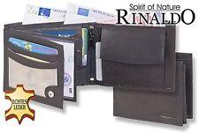 Geldbörse Portemonnaie Geldbeutel Brieftasche schwarz echt Leder Querformat