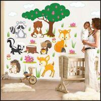 Forest Animals Tree fox bear Baby Nursery Room Wall Stickers Wall Decal Art 910