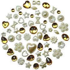 50pcs Flatback PEARL & GEM Embellishments Scrapbooking Hearts Wedding Craft  DIY