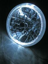 "Street Rod 7"" Tri Bar Black Dot H4 Headlight w/ Clear LED Turn Signal Halo Ring"