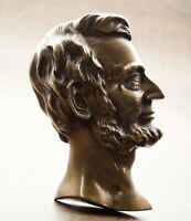 Antique Bronze Profile Portrait Sculpture of Abraham Lincoln