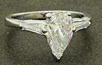 EGL USA 14K WG 1.37CTW Pear diamond wedding/engagement ring w/ 1.13CT ctr.