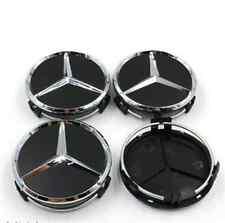 (Set of 4)Premium Black 75mm Center Hubcap Hub Cap Caps Wheel Cover for Mercedes