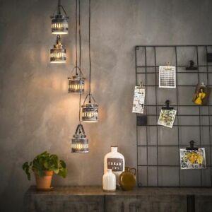 famlights | Pendelleuchte Carlo aus Metall in Grau 5xE27 Industrielles Design