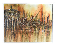 """Vintage Mid Century Modern Brutalist Abstract Painting """"Sinking Ship"""" Edwards"""