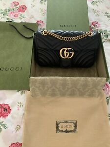 Gucci GG Marmont Matelasse Shoulder Bag, Small, Leather, Black