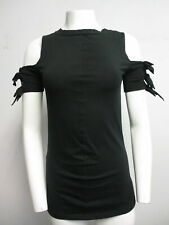 YVES SAINT LAURENT black stretch cotton cold-shoulder crewneck T-shirt sz 40/ S