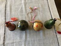 Lot Of 4 Vintage Christmas tree Paper Mache ornaments. Hand Made In Kashmir