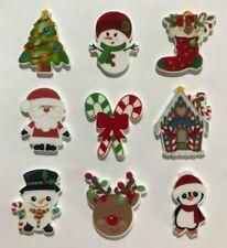 9 X CHRISTMAS XMAS PLANAR RESIN FLATBACK EMBELLISHMENTS CARDS SCRAPBOOKING 2