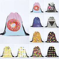 School Drawstring Book Bag Sport Gym Swim PE Dance Girls Boys Kid Print Backpack