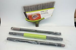 """WayClean Casabella Wide Angle Broom Lime Green Gray 11.5"""" Wide 4-Piece Set"""