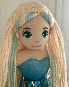 "~❤️~MERMAID DOLL Plush Soft Medium 45cms 18"" Sequinned Toy Aqua Blue AQUATA~❤️~"