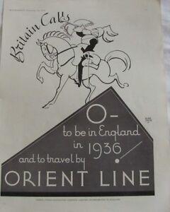 Vintage 1936 Australian Print Ad, Orient Line, Orient Steam Navigation Company