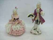 Early 20th cent. Pair Dresden Dec Alka German porcelain figures lace dress