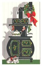 UNUSED Vintage Greeting Card Christmas Cat Old-Fashioned Pipe Stove Mid-Century